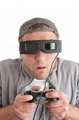 Surprised Player With Joystick And 3-d Glasses poster