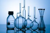 foto of biotech  - Blue glass flasks used in chemistry and biotech laboratories