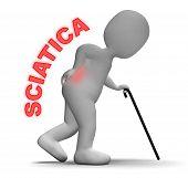 Sciatica Pain Indicates Vertebral Column Problem 3D Rendering poster