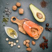 Selection Food Sources Of Omega 3 And Unsaturated Fats. Super Food High Omega 3 And Unsaturated Fats poster