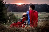 Little Girl With Dad Dressed In Super Heroes, Happy Loving Family poster