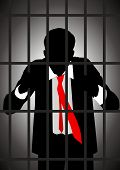 foto of lockups  - Vector illustration of a businessman in jail - JPG