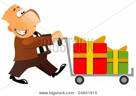 Businessman carring gifts