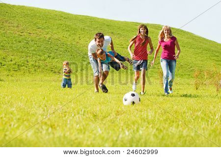 Excited parents with kids running
