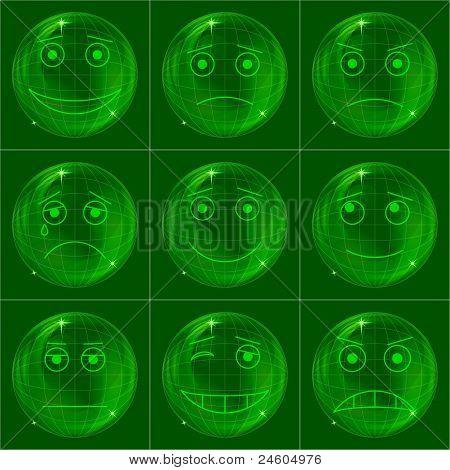 Bubbles smileys, green