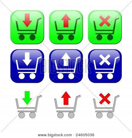 Einkaufswagen. Reihe von icons