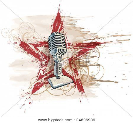Rock star. Microphone, grunge watercolor star & floral ornament. Bitmap copy my vector ID 71736121