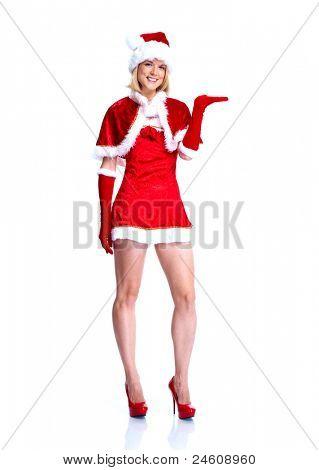 Mulher sexy do auxiliar de santa. Festa de Natal. Isolado sobre o fundo branco.