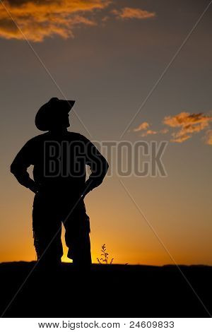 Cowboy Silhouette Stand Sunset