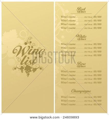 Wine List Menu Card Design template.