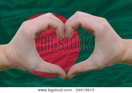Heart And Love Gesture Showed By Hands Over Flag Of Bamgladesh Background