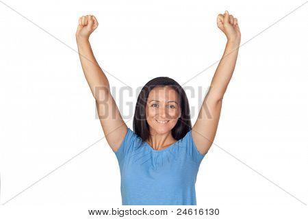 Winer girl celebrating success isolated on white background