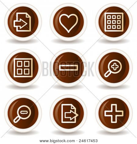 Image viewer web icons set 1, chocolate buttons