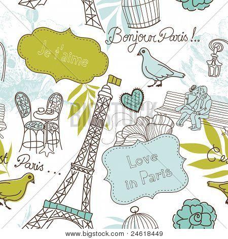 Liebe in Paris. Nahtlose Muster
