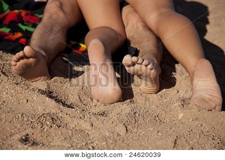 Man Woman Feet Sand
