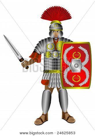 Roman centurion on white