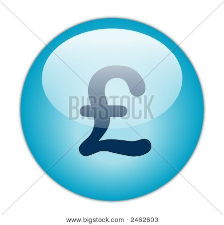 The Glassy Aqua Blue Pound Icon Button