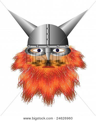 Viking in a helmet with a red beard