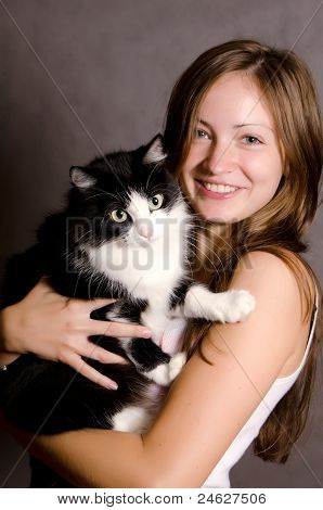 The Beautiful Girl With A Cat