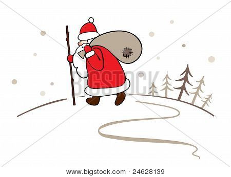 Background - Santa with a sack of gifts