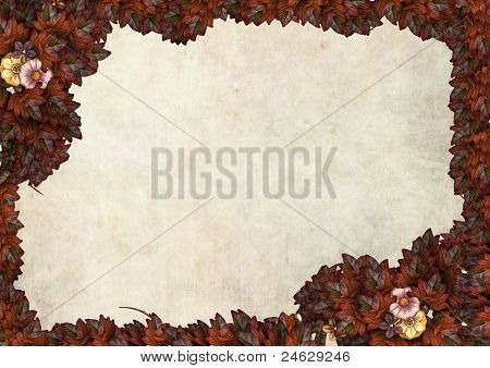 autumn leaves frame for a message