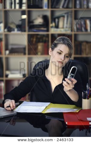 Businesswoman Phone Desk Office
