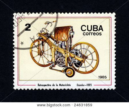 CUBA - CIRCA 1985: A stamp printed in Cuba shows an image of a old vintage motorcycle, Daimler - 1885, circa 1985