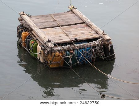Pontoon Ferry Made From Empty Plastic Containers. Cheung Chau. Hong Kong.
