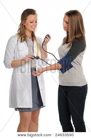 Female doctor or nurse taking patient's blood pressure isolated over white background