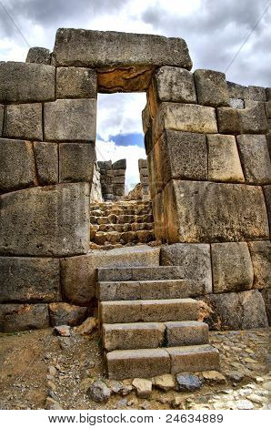 Gate At Sacsayhuaman Ruins - Hdr Effect