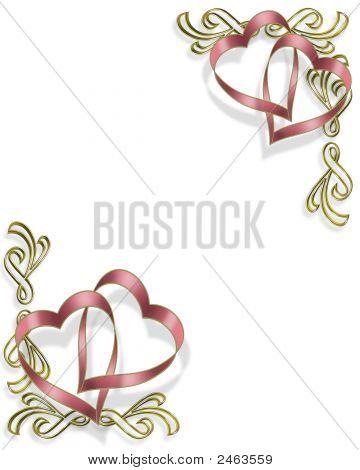 Pink Heart Ribbons Invitation