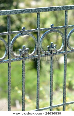 Closeup Iron Scroll Fence