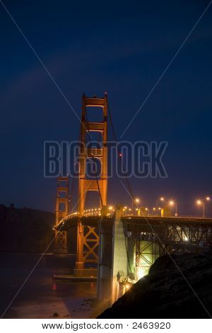 Shot Of Golden Gate At Sunset