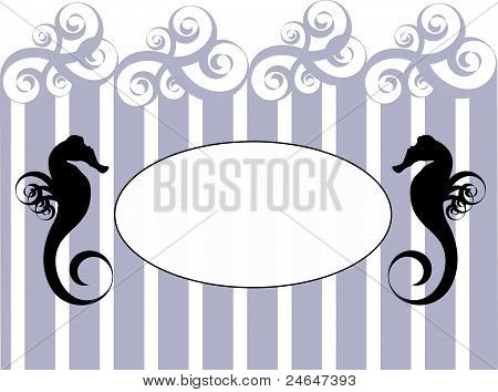 Sea horse frame with stripes