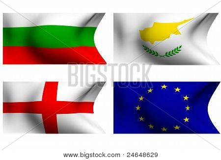 Flags Of Bulgaria, Cyprus, England And European Union. 3D.