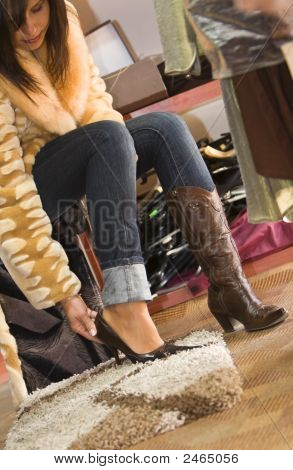 Woman Trying On New Shoes