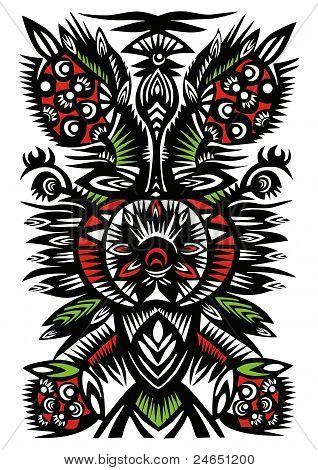 Black Pattern Of Flowers, Berries And Leaves