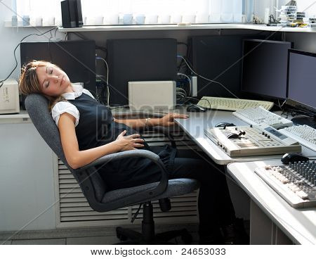 Pregnant Woman Sleeps At Work