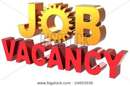 Job vacancy announcement text banner colored shiny red golden