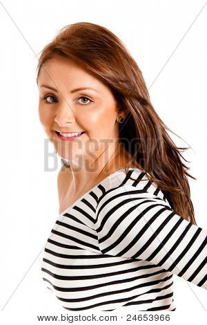 Gorgeous woman smiling and posing in a sexy way - isolated over a whiite background