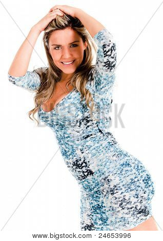 Casual woman posing in a sexy way - isolated over a white background