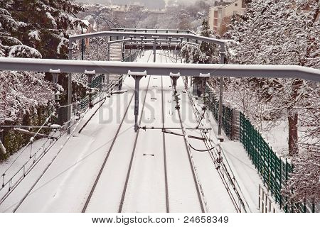 station in the snow