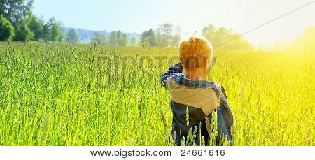 Happy Young Boy Looking Horizon