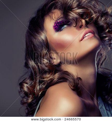 Fashion Beauty Portrait. Sexy Girl .Wavy Hair