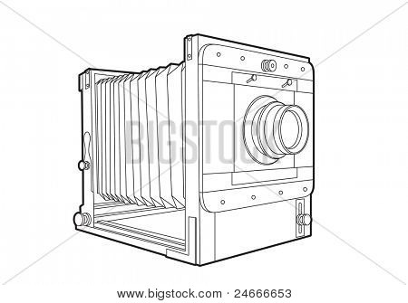 Vector old classic camera (black outline)