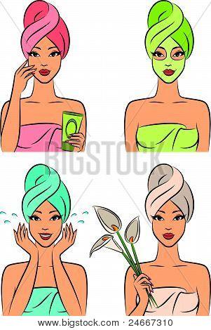 Beautiful girl during beauty ritual. Vector illustration
