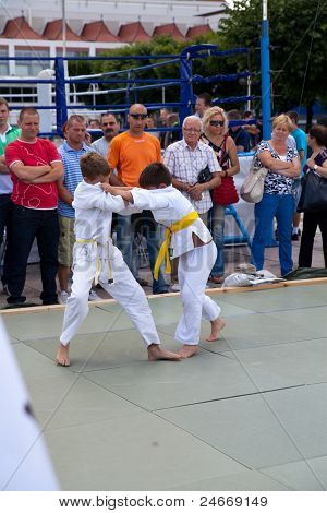 Sopot, Poland - July 16: The Karate Kids Fighting For The Competition On July 16, 2011 In Sopot, Pol