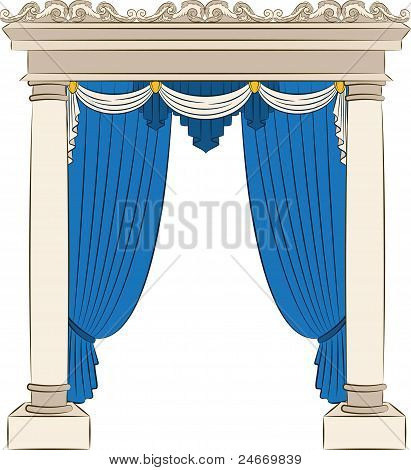 Ancient arches decorated with curtains design element .