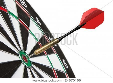 Red dart hitting a target, isolated on white