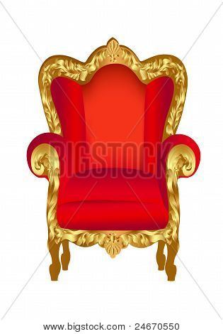 Old Chair Red With Gold